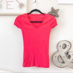 [NWT] TOMMY HILFIGER pink v neck logo T-shirt